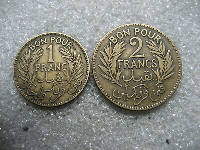 .Coin Tunisia 1926 1 & 2 francs lot of 2 coins