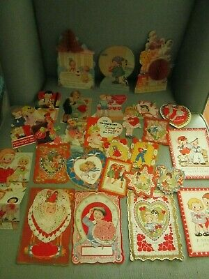 Lot of 27 Antique Vintage Valentine Cards Valentine's Day 1930s Variety Misc