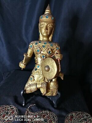 Vintage 31cm Tall Wooden Carved Gilt Buddha With Drum Wall Hanging