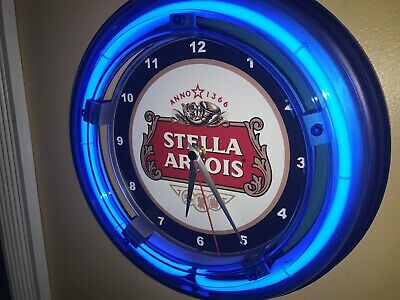 Stella Artois Beer Bar Man Cave Advertising Blue Neon Wall Clock Sign