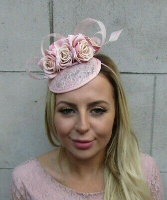 Light Nude Blush Pink Flower Feather Hat Hair Fascinator Races Wedding Rose 8097