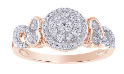 3/8Ct Round Real Diamond 10K Rose Gold Heart Knot Engagement Ring Valentine Gift