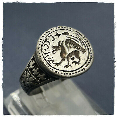** GRYPHON ** ancient SILVER  BYZANTINE or MEDIEVAL RING ! 10,29g
