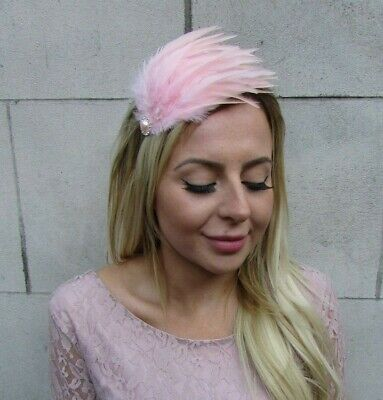Blush Light Pink Silver Feather Fascinator Headband Headpiece Hair Band 9000