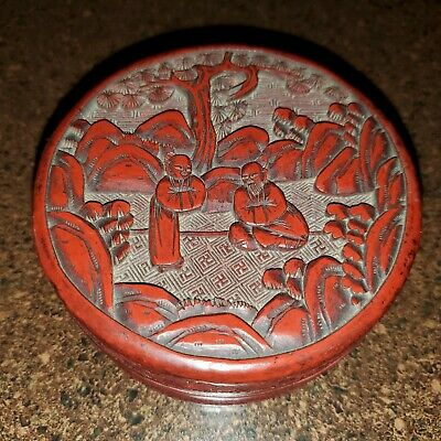 Antique Chinese Cinnabar Red Lacquer Hand Carved Round Box Black Enamel Interior