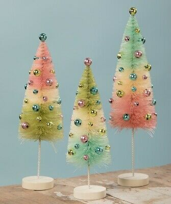 Bethany Lowe Pastel Confetti Bottle Brush Trees Set of 3 Wire Bead Easter Spring