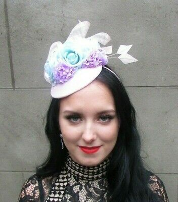 Pale Blush Pink Mint Aqua Green Lilac Flower Feather Hat Fascinator Races 9007