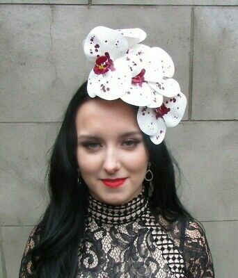 White Burgundy Wine Red Spotted Orchid Flower Fascinator Headpiece Headband 9010