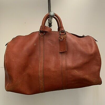 Louis Vuitton Epi Leather Weekend Bag Duffle Luggage Vtg Distressed 22x11x10