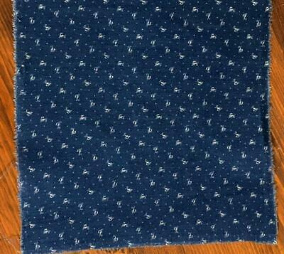 "Antique Fabric 19thc Indigo Blue Dot & Squiggle Calico Quilt Doll 8""x8"" 7 availa"