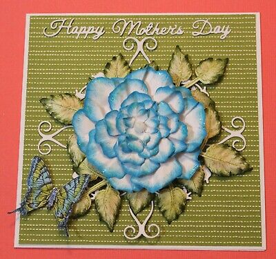 White Happy Mothers Day Handmade Card DIY Card Making Kit Mermaid Blue Flower