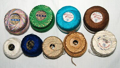 Vintage Cotton Pearle Thread Lot Variegated Pastels DMC Clarks Brown Blue Green