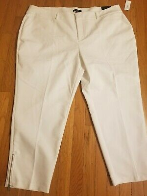 New Roz & Ali 18W Signature Fit Womens white Zip Ankle Dress Pants Slacks $39