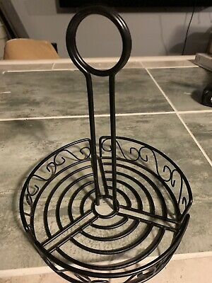 12 Lot round metal black condiment caddy 7 1/2""