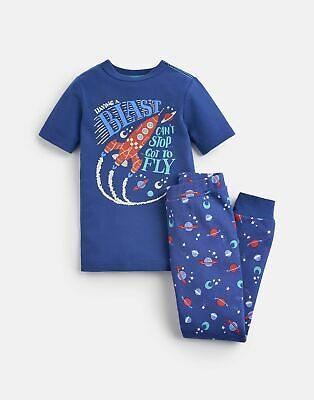 Joules Boys Raoul Short Sleeve Pj Set  - BLUE BLAST OFF Size 1yr