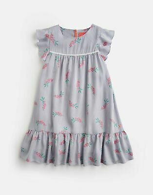 Joules Girls Posy Frill Sleeve Dress 3 12 Yr in BLUE POSY STRIPE