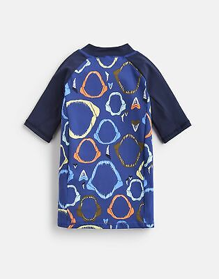 Joules Boys Chase Rash Vest  - BLUE SHARK JAWS