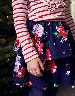 Joules Girls Ruffles Cord Tiered Skirt  - NAVY DEVITO FLORAL