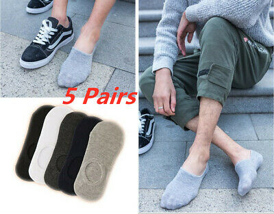 5 Pairs Mens Womens Unisex Invisible Socks Anti Slip Trainer Shoe Summer Socks