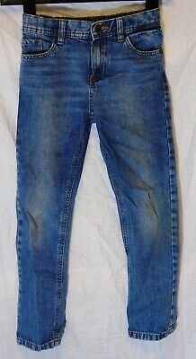 Boys M&S Mid Blue Whiskered Denim Adjustable Waist Classic Jeans Age 6-7 Years