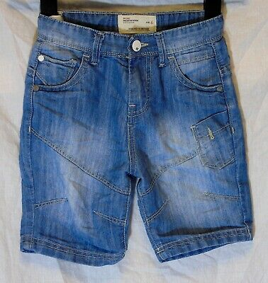 Boys Matalan Stonewashed Blue Panelled Denim Adjustable Waist Shorts Age 6 Years