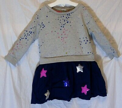 Baby Girls M&S Grey Blue Sparkly Stars Long Sleeve Jumper Dress Age 12-18 Months