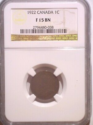 1922 NGC F15BN Canada Small One cent - Clean Holder - Penny - 1C: 1.24M Mintage