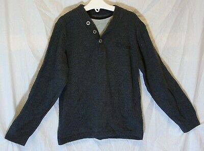 Boys Next Mid Grey Marl Thin Knit Faux Layered Button Neck Jumper Age 8 Years