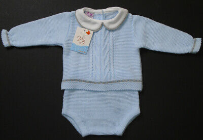 Baby Boys Knitted Blue Knitted  Spanish  2 Piece Outfit   Newborn