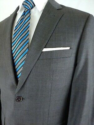 Jos A Bank Signature Gold Charcoal Gray Wool 2Button 2pc Suit Check 40R 33x32