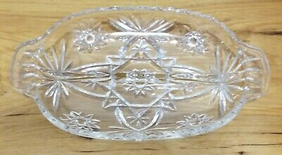Vintage Oval Crystal Divided Serving Dish/Tray/ Plate With Handles
