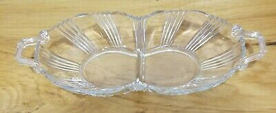 Vintage Oval Clear Glass Divided Serving Dish/Tray/ Plate With Handles