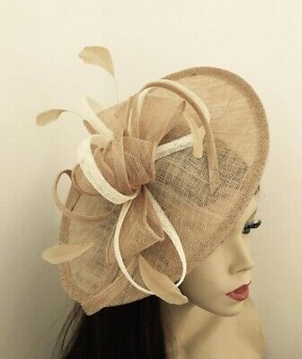 Nude Beige Gold & Cream Fascinator Feather Saucer Wedding Hat Formal Hatinator