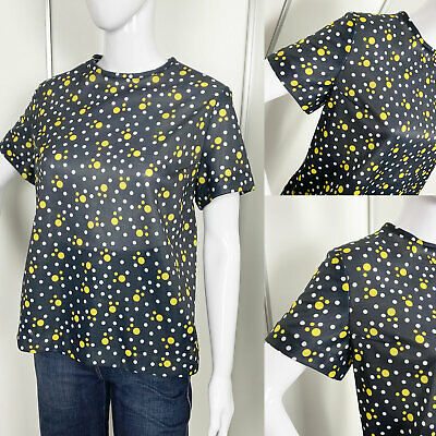 Vintage 1960s 1970s Style Black & Yellow Polka Dot Top Mod Scooter L (16-18)