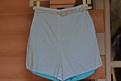 "Vintage 1950's Rockabilly Blue Check Reversible Short Shorts Hot Pants 24"" Waist"