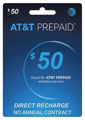 AT&T Prepaid $50 Refill Top-Up Prepaid Card / DIRECT RECHARGE