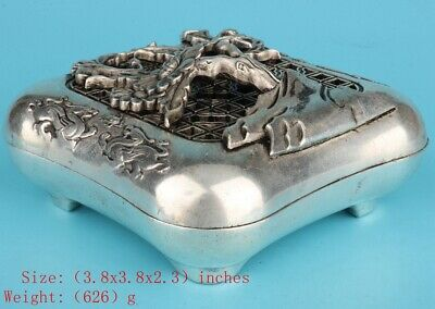 Precious China Silver-Plated Copper Censer Hollow-Out Tree Handicraft Old Gift