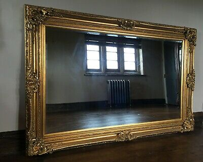 Large Statement Antique Gold French Floor Dress Ornate Leaner Wall Mirror 6ft