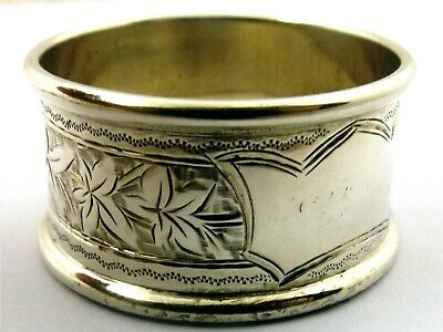 Antique sterling silver napkin ring leaf engraving and cartouche H & S 1907