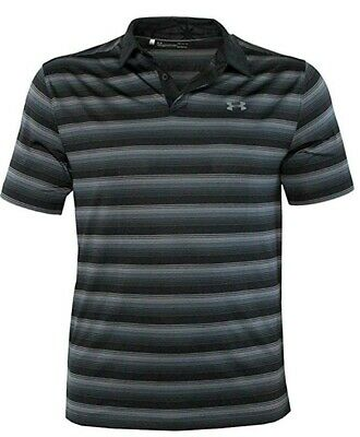 Under Armour Men's Performance Golf Polo CoolSwitch Shirt Striped LG NWT Black