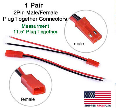 "JST 2Pin Connector Male/Female Plug Cable 11.5"" Leads RC Lip Battery,LED Lights"