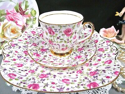 WINDSOR tea cup and saucer pink rose & ribbons teacup and cake plate chintz