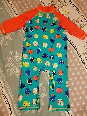 Boots Mini Club Baby Boys 3-4yrs All In One Sun UV Safe Swim Suit Fish New