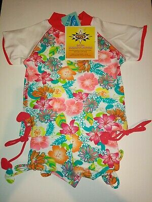 Girls 2 Peice SunSuit Short Sleeve Top And Shorts Age 4 UPF 50+