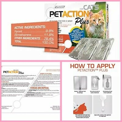 🐾PetAction Plus Flea and Tick Treatment Cats 3 Doses {Brand New} 🐾