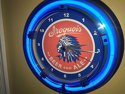 Iroquois Indian Beer Bar Tavern Man Cave Blue Neon Wall Clock Sign