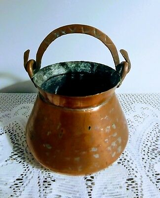 Antique Vtg Hand Hammered Copper Pot Pail Bucket w/Dovetail Seam Snake Handle