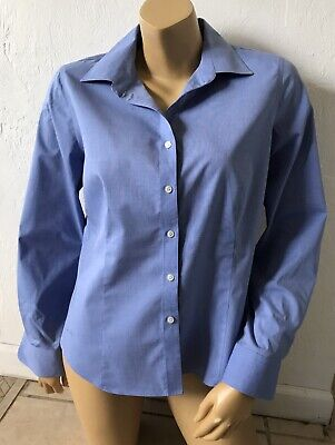 TALBOTS PETITES Womens Size 12P Blue Wrinkle Resistant Button Up Shirt Collared