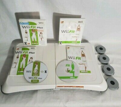 Nintendo Wii Fit Balance Board and 2 Games, Wii Fit and Wii Fit Plus and lifters