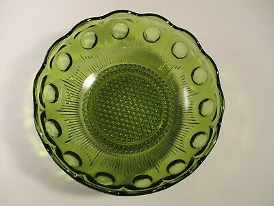 Vintage Indiana Avocado Green Depression Glass Large Salad Bowl King's Crown